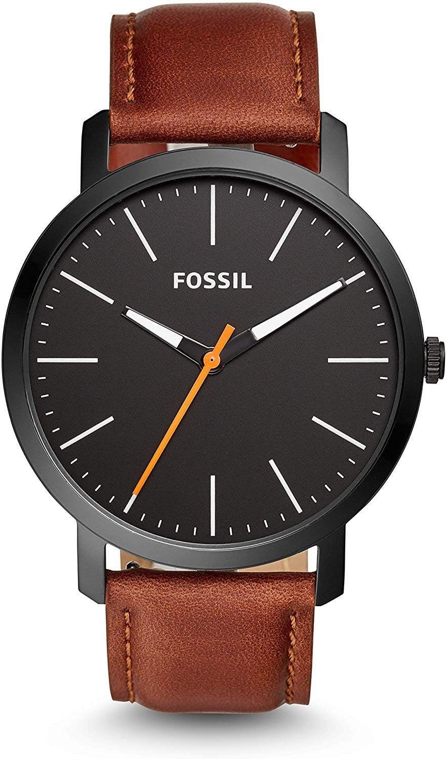 A watch with a black dial and brown leather straps.