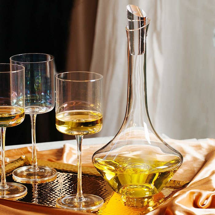 The crystal wine decanter.