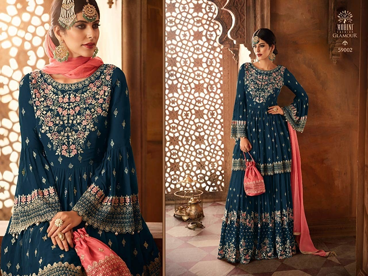 Two images of a woman side-by-side in ethnic wear, one where she's sitting and one where she's standing.