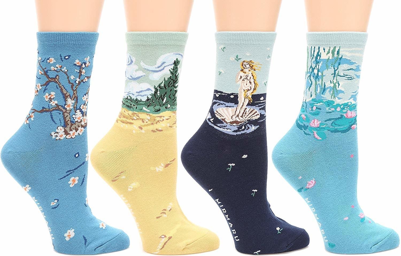 All four styles of the art inspired socks.