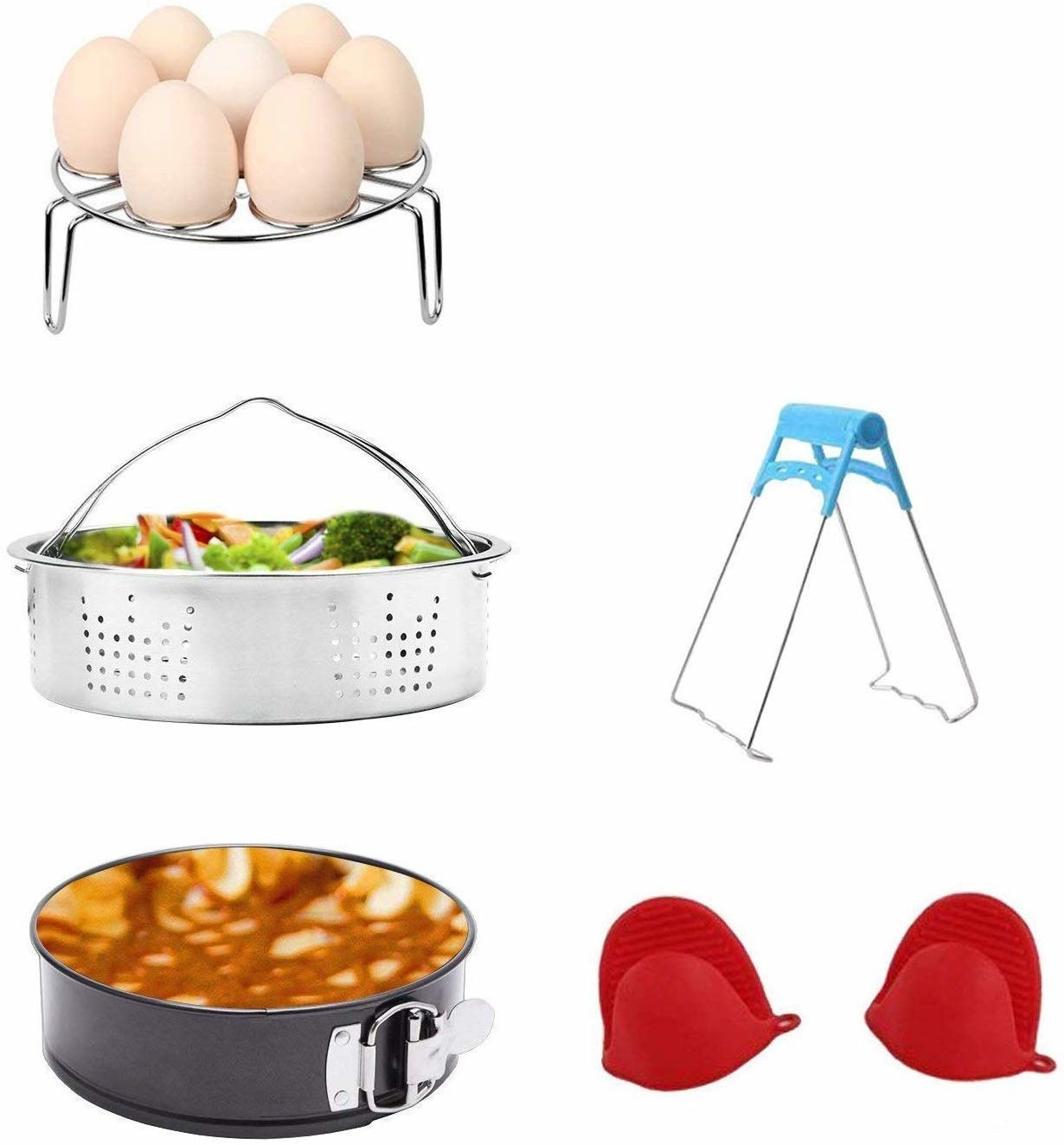 An egg cooking rack, A steaming basket, A springform pan, A set of tongs, and a set of silicone mitts on a plain background