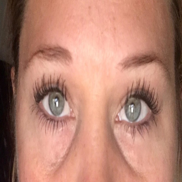 after of reviewer's eyelashes looking much longer and more voluminous