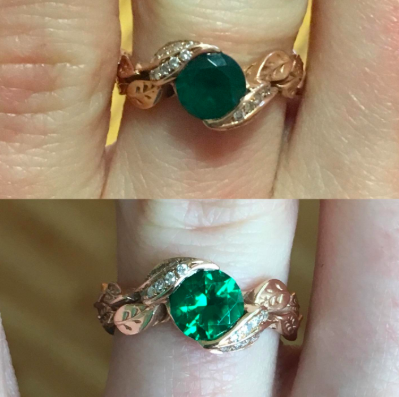 reviewer's before pic of cloudy gem on ring, then after pic of super gleaming ring