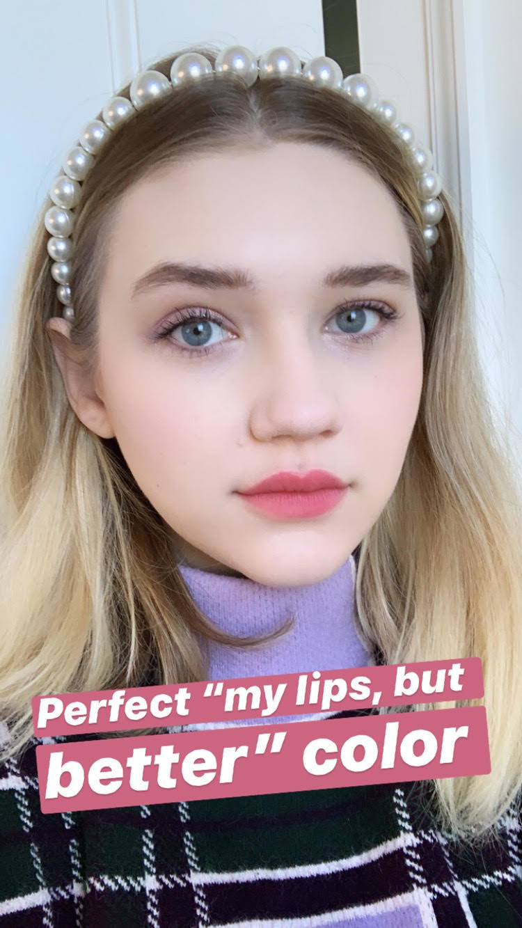"""Maitland Quitmeyer wearing light pink color labeled """"perfect 'my lips but better' color"""""""