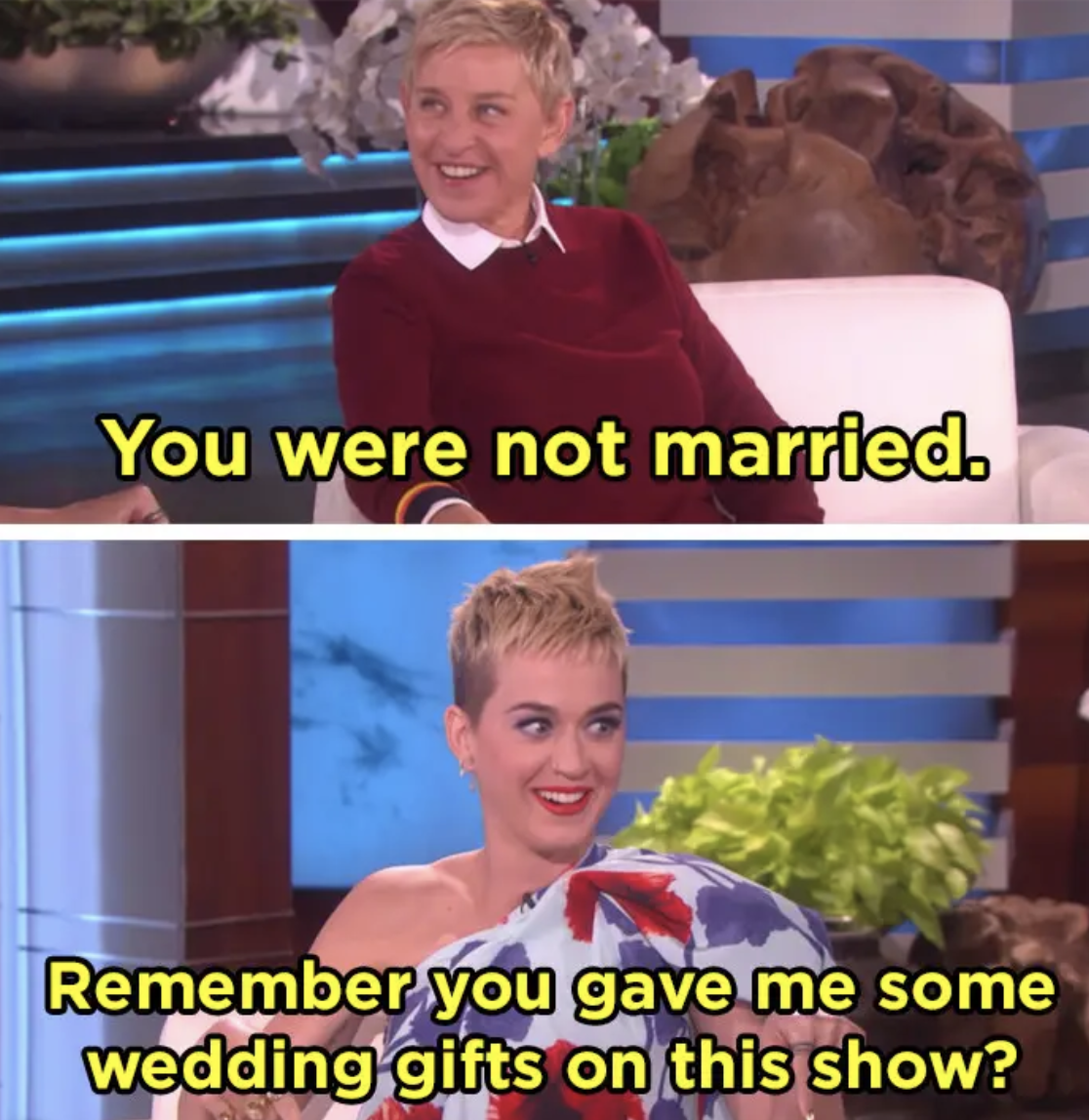 Katy Perry reminds Ellen she gave her wedding gifts