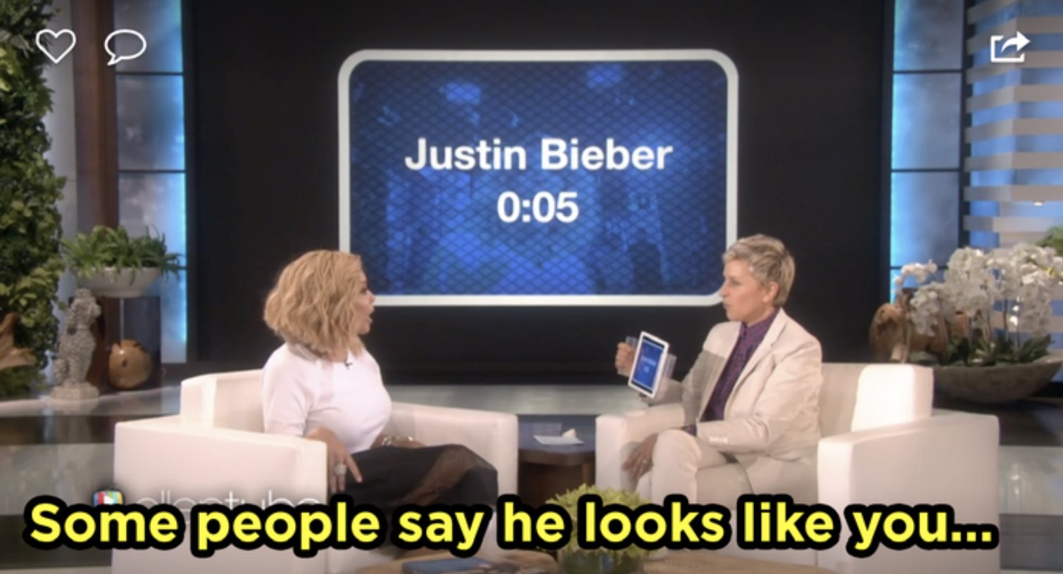 Wendy Williams telling Ellen she looks like Justin Bieber