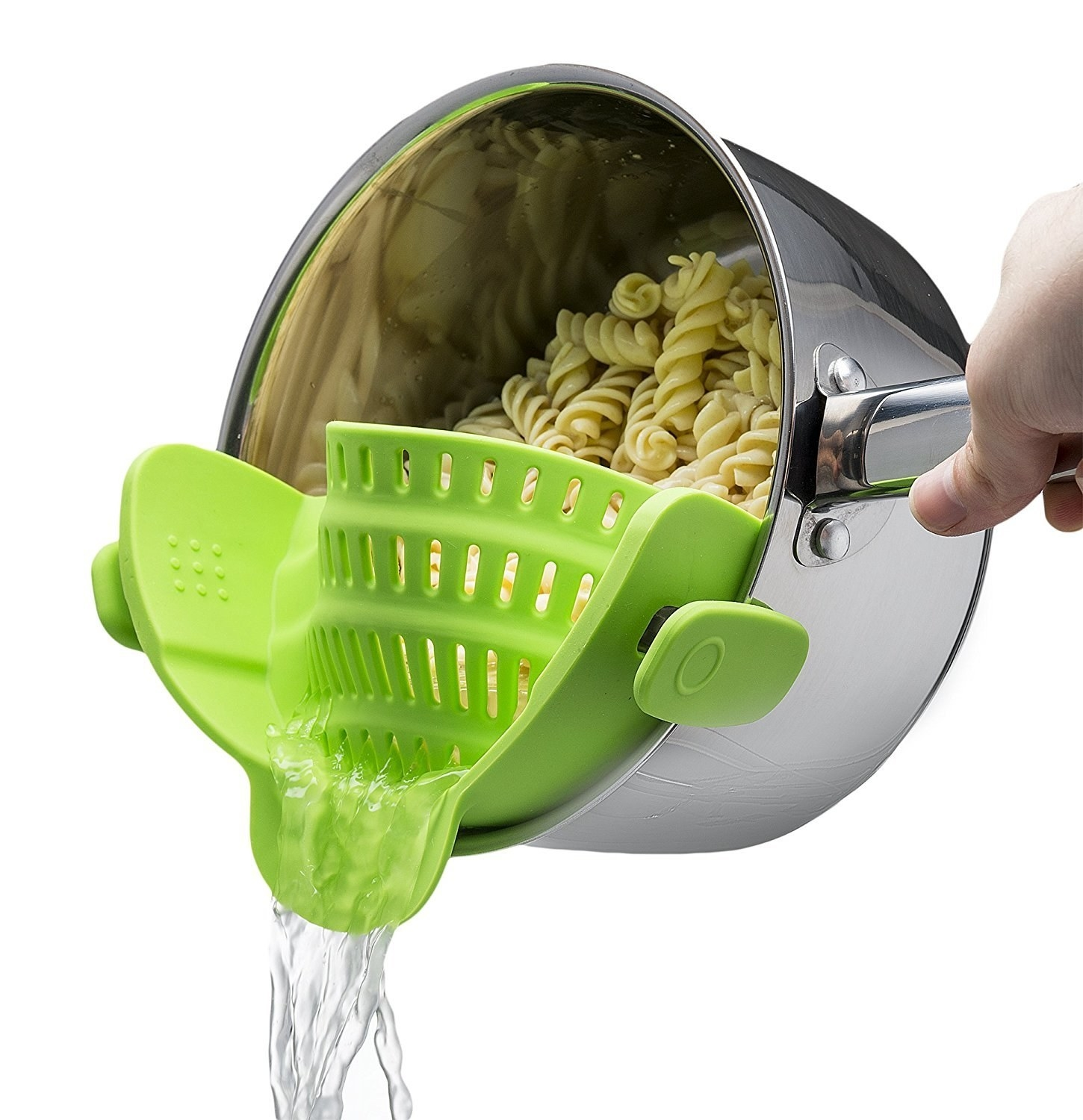 A silicone pot drainer attached over a pot of pasta