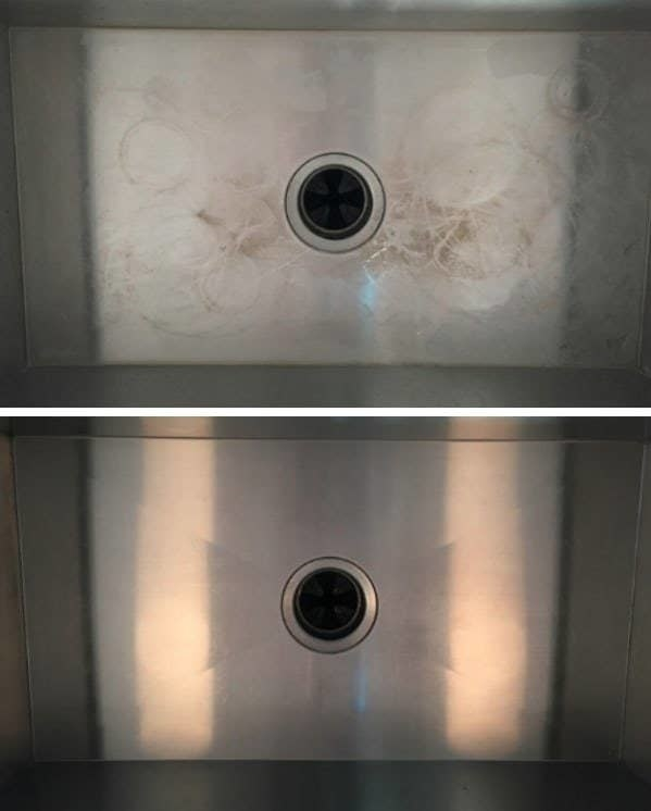 reviewer's before-and-after of a stainless steel sink with cup rings and stains inside compared to it looking spotless