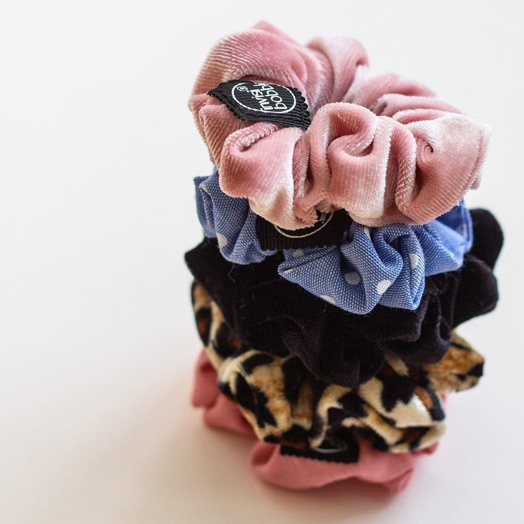 pile of velvet scrunchies