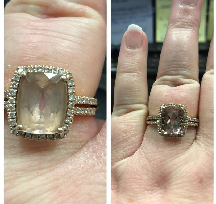 before: cloudy stone ring after: clear shiny ring