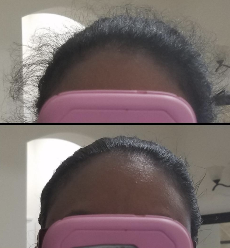 Reviewer before with unruly hair and after with smoothed down hair