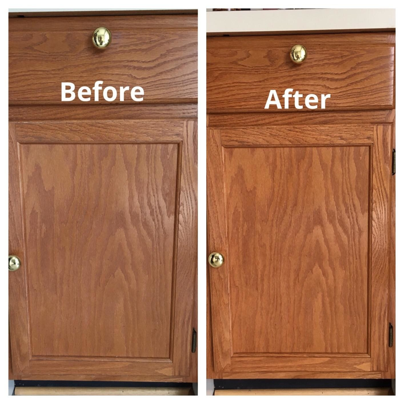 A reviewer's brown cabinet looking dull at first, then looking brighter and cleaner after
