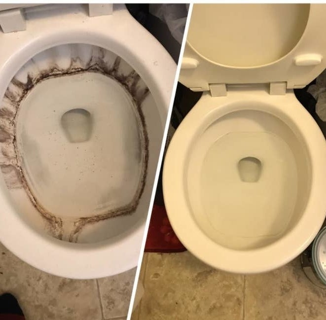 reviewer's before-and-after photo of a toilet with brown stains in it compared to all of the stains gone