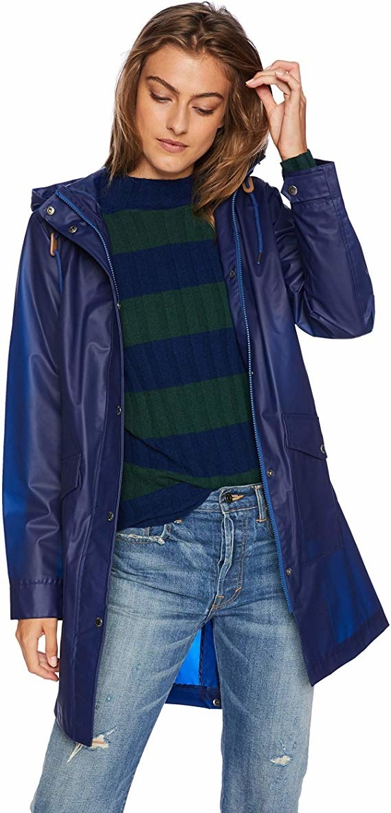 model wearing the rain coat