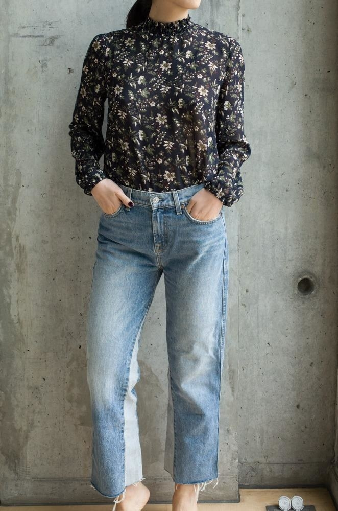 high neck floral long sleeve blouse