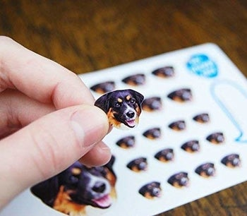 tiny stickers of a dog's face