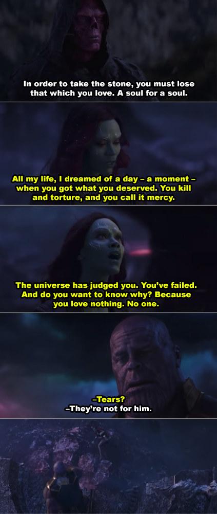 Thanos throwing Gamora over the cliff