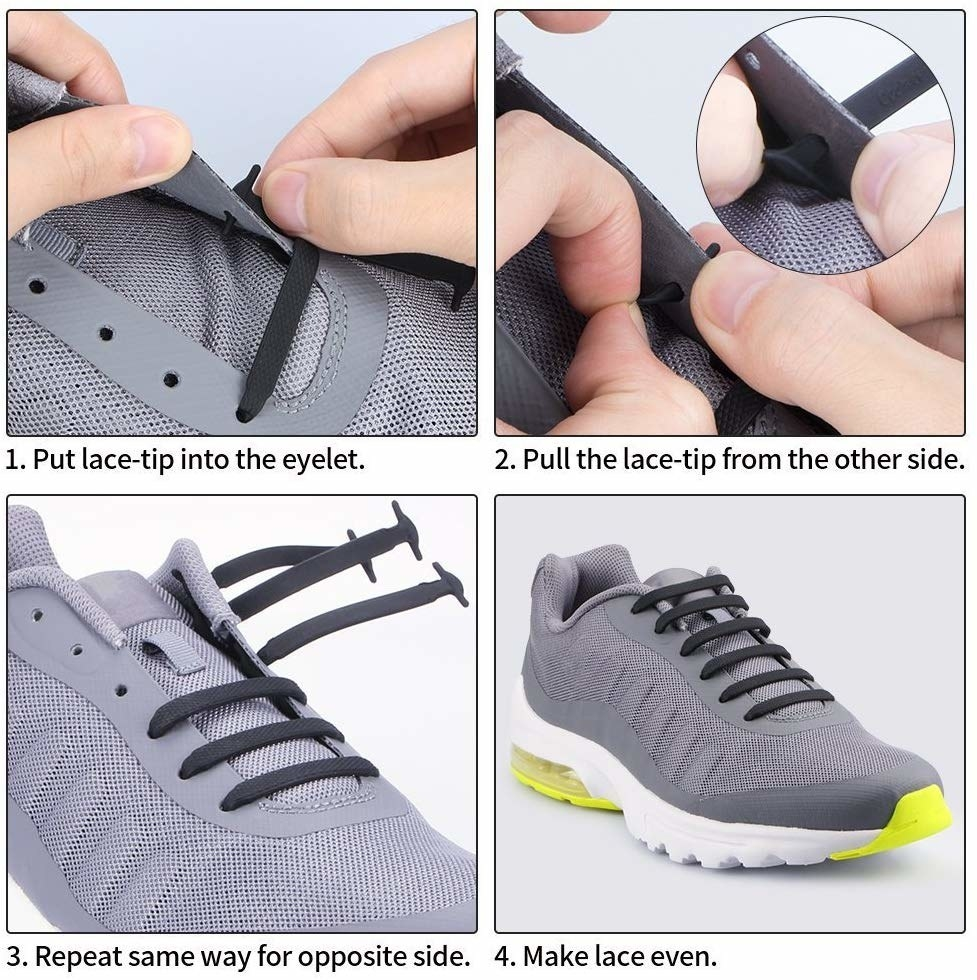 lacing a sneaker with the shoelaces that look like regular shoelaces