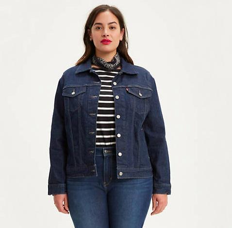 plus size model wearing the jacket
