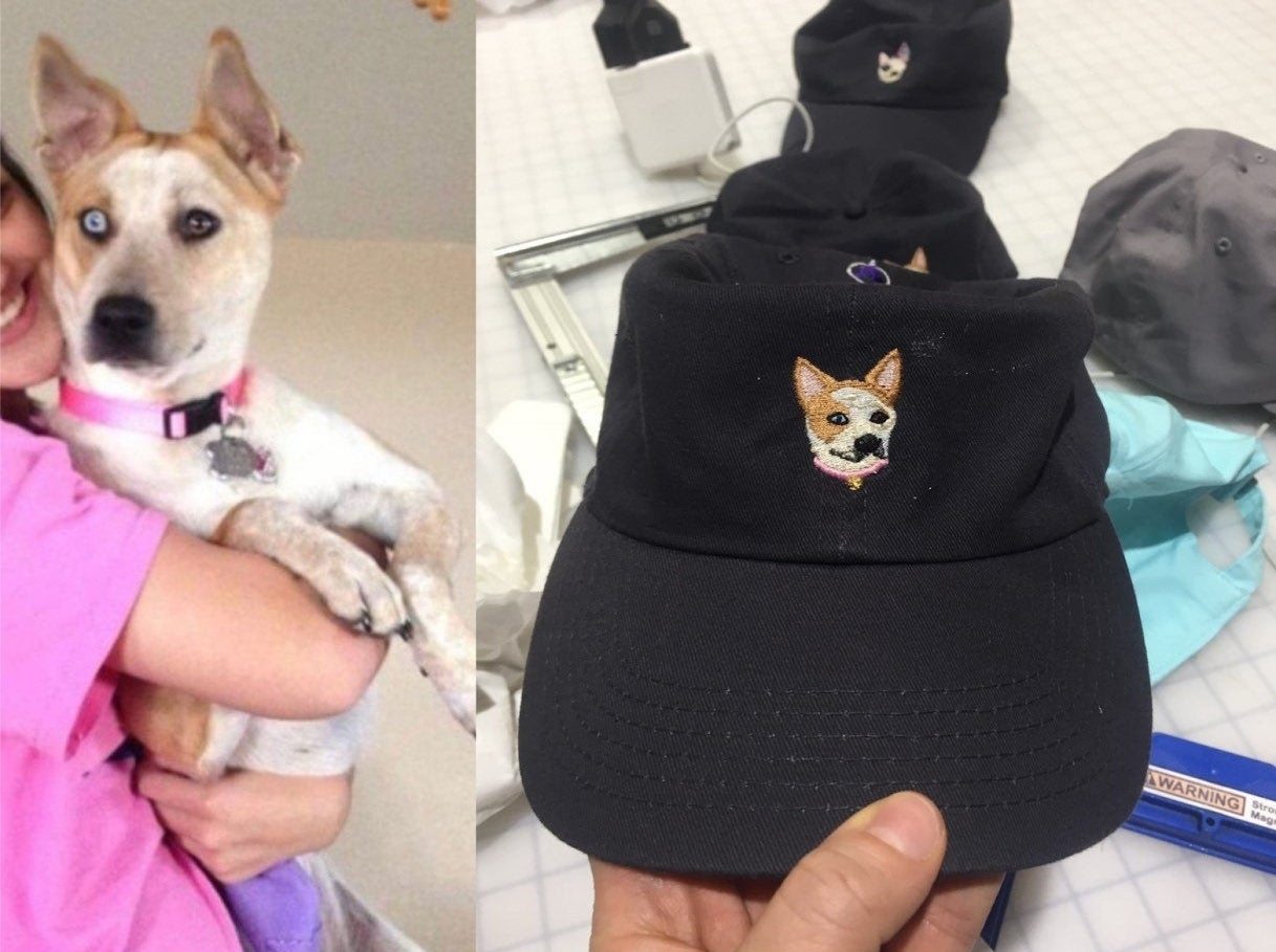 an image of a dog being hugged by their own side-by-side with a black baseball cap featuring an embroidered version of the dog on it