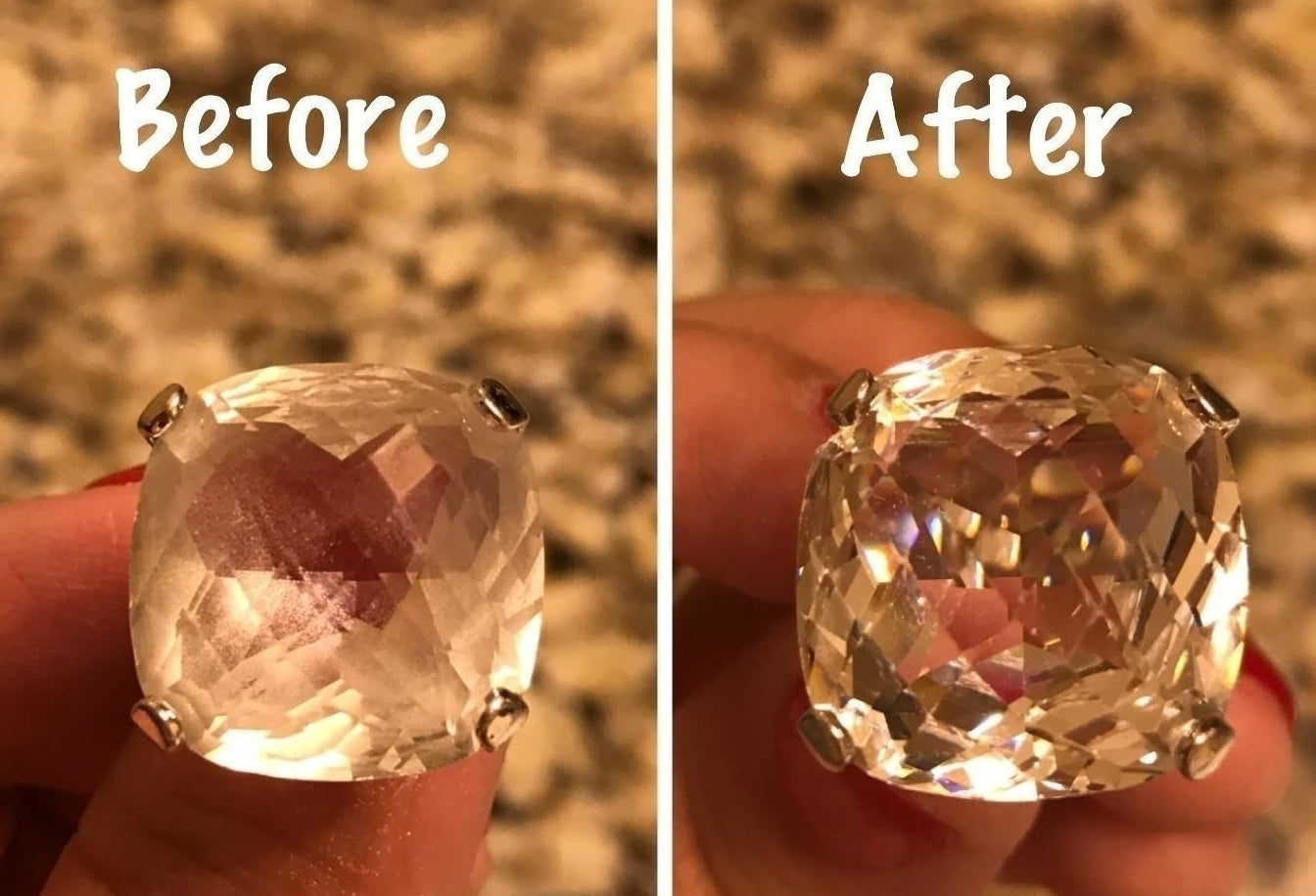reviewer's costume crystal ring before: clouded with oils and dirt and after: clear and sparkling