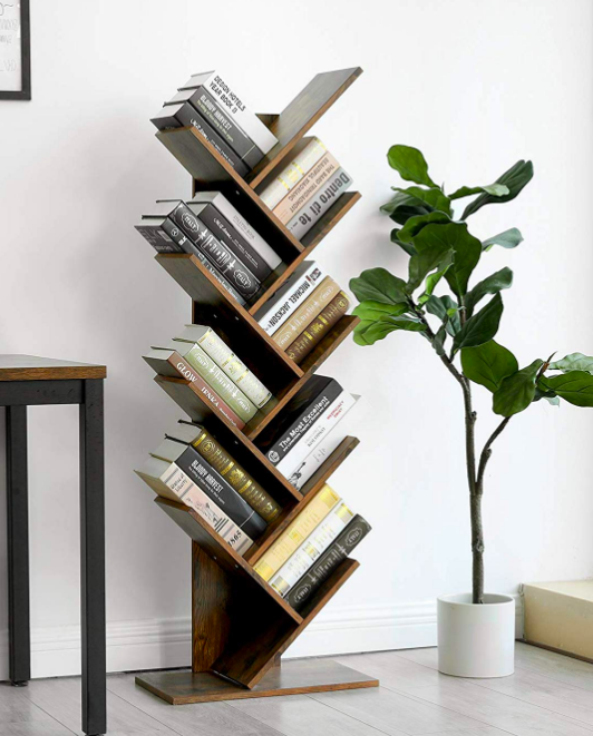 Vertical shelf with several pockets for books set on an angle