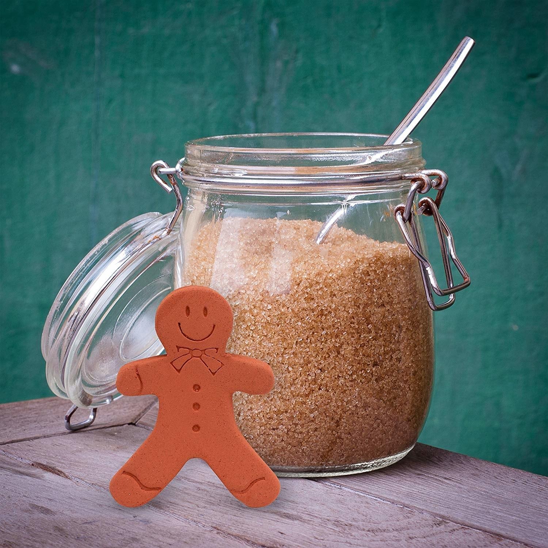 gingerbread man shape terra cotta piece beside a jar of brown sugar