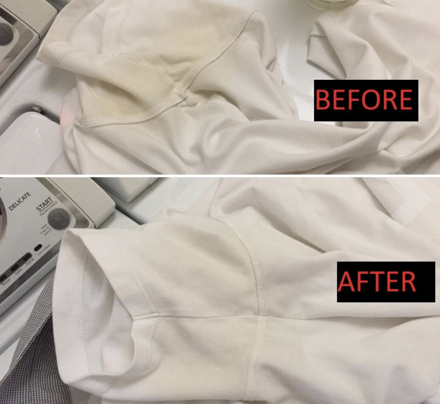 """before photo of reviewers white shirt with yellow underarm stain labeled """"before""""; the same top with no stain labeled """"after"""""""