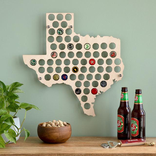 texas shape beer bottle cap holder