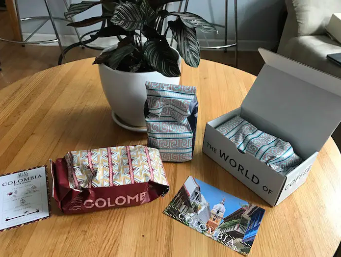 An unboxed Atlas Coffee Club delivery