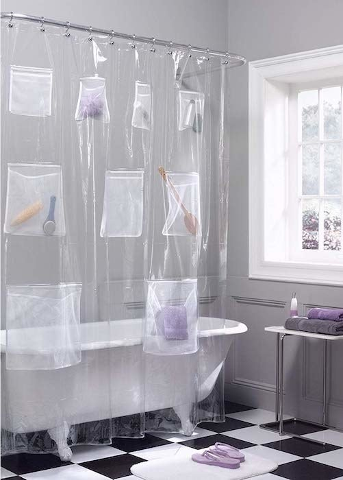 clear shower curtain with storage pockets