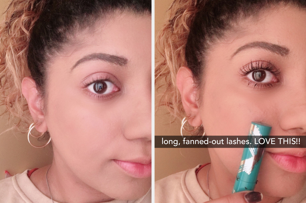 "on the left a buzzfeed writer with no mascara on, on the right her wearing the mascara with lashes looking longer and darker captioned ""long, fanned-out lashes, love this"""