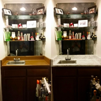 A before and after of a reviewer's brown countertop covered with the white and gray paper