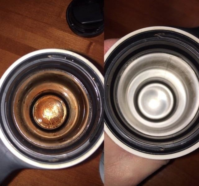 Reviewer image showing a dirty cup before using the tablets and a clean cup after using the tablets