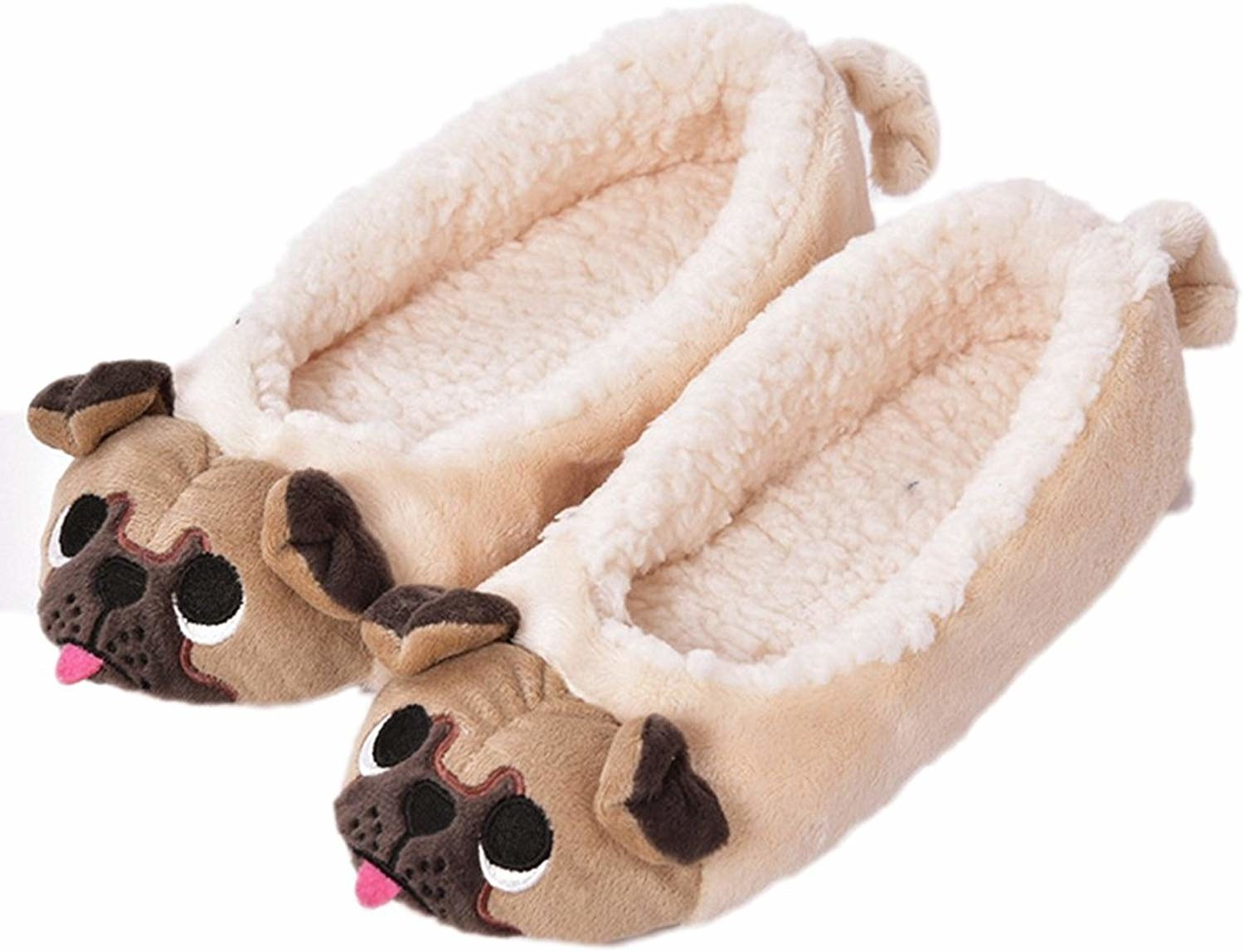 The low slippers with pug faces at the front with little tongues sticking out