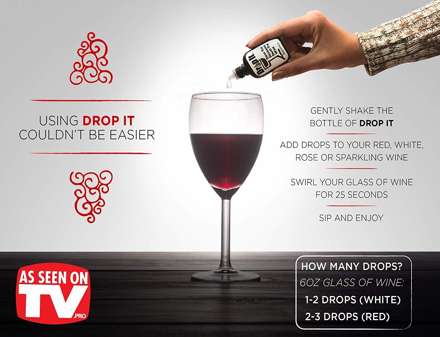 Person dropping liquid into wine with graphics describing the need to shake before use and add certain drops per drink