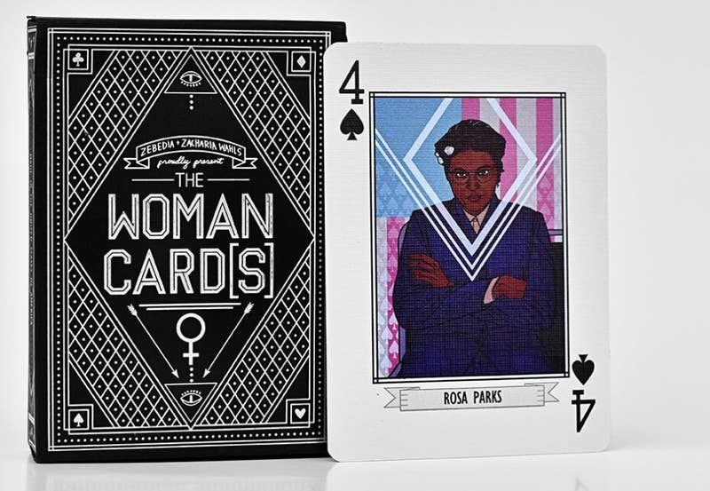 """the deck of """"The Woman Cards"""" with one card out of an illustration of Rosa Parks"""