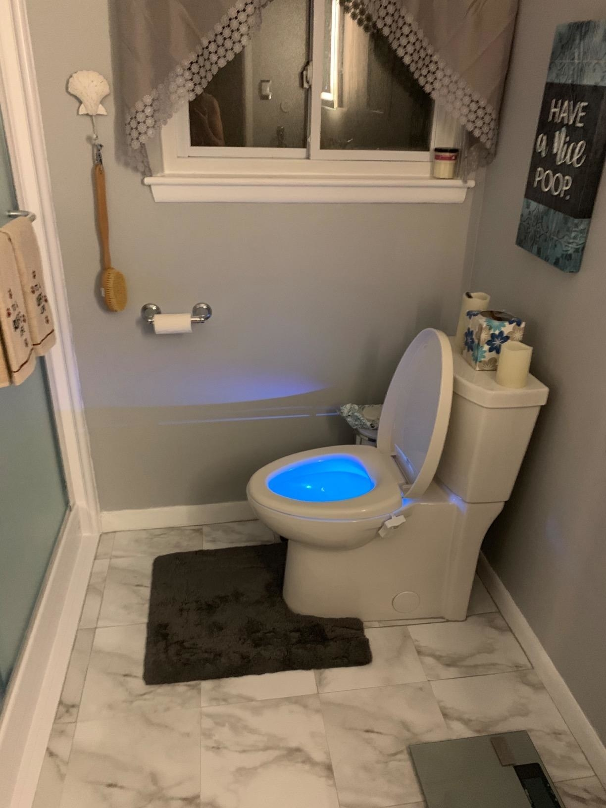 The light inside a toilet bowl glowing blue