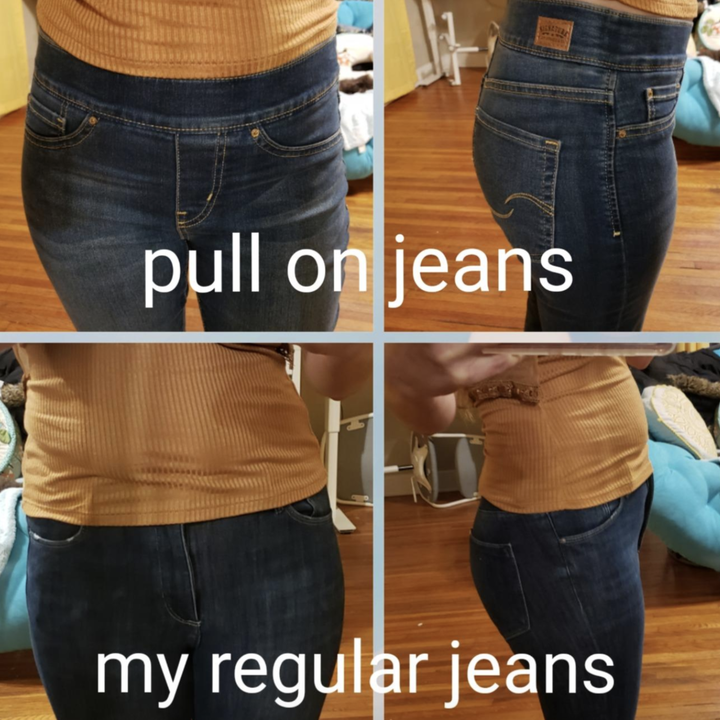 """photo on top labeled """"pull on jeans"""" and photo on bottom labeled """"my regular jeans"""""""