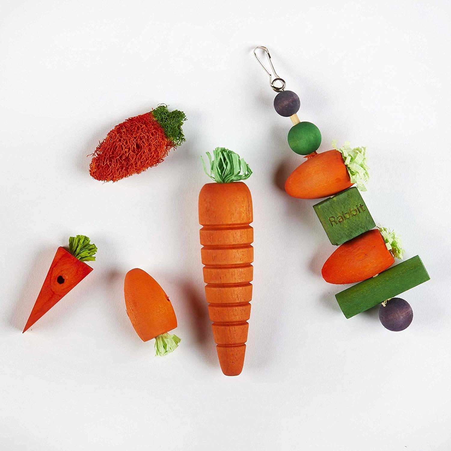 "A flatlay of wooden ""vegetables"""