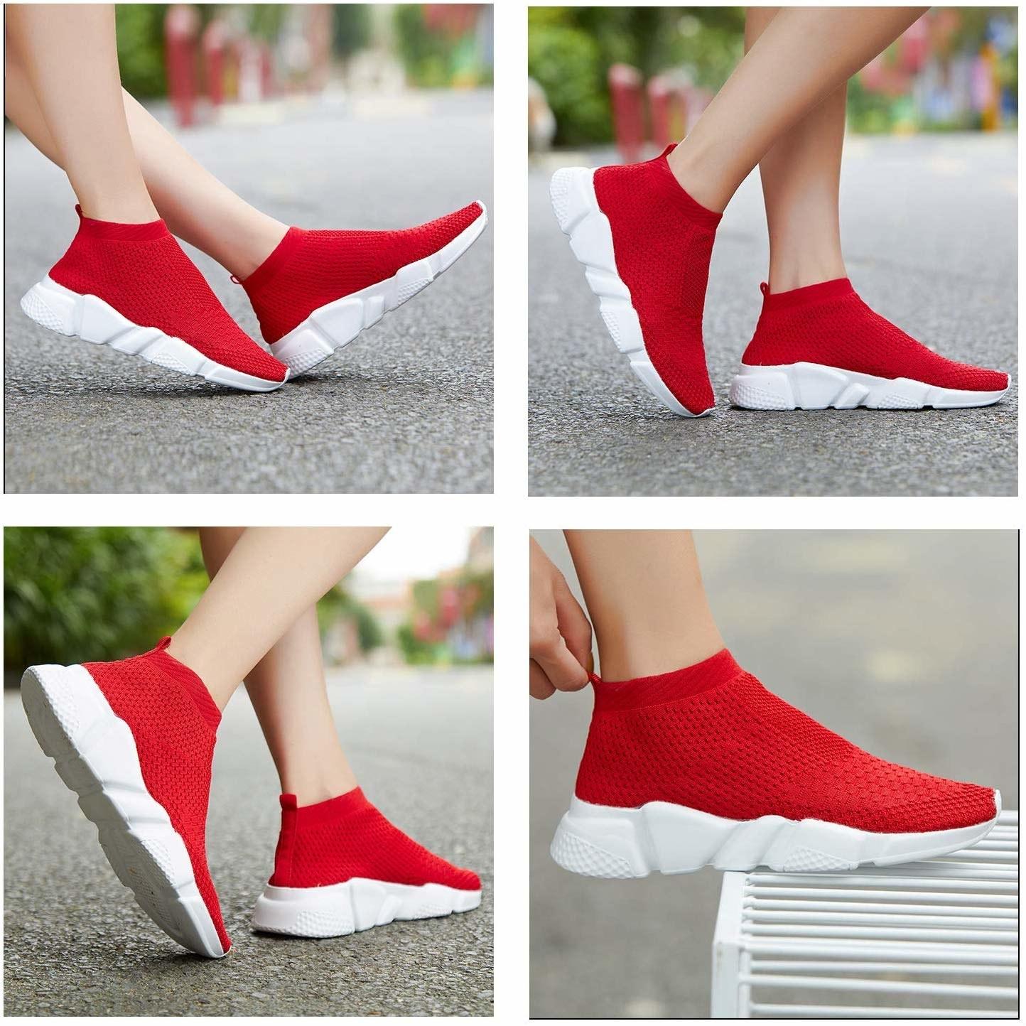 Model wearing the slip-on mesh sneakers in red