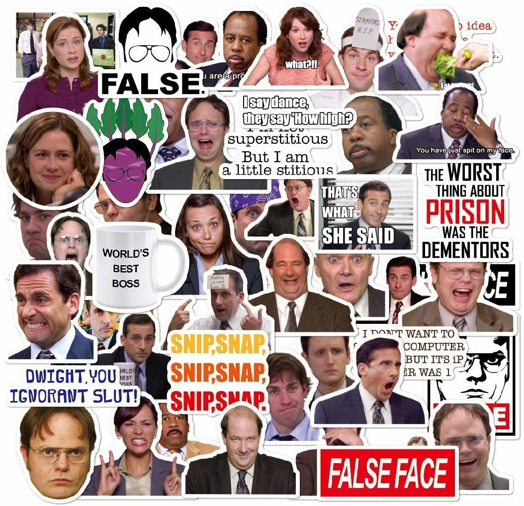 various picture stickers from The Office TV show