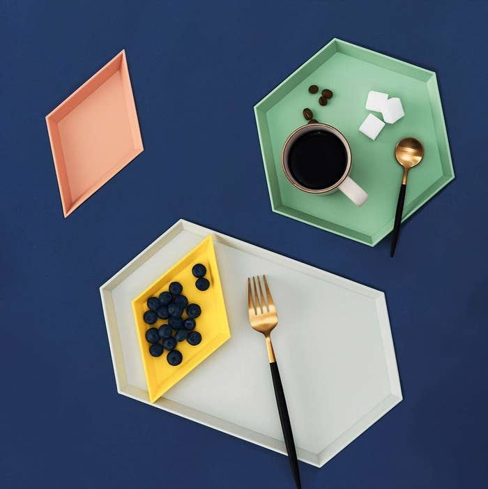 the colorful geometric trays