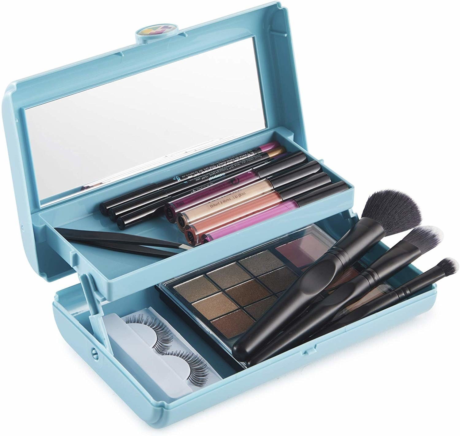 open makeup organizer with a mirror in the lid and two trays