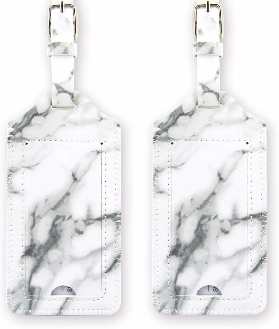 two luggage tags in a white and gray marble print