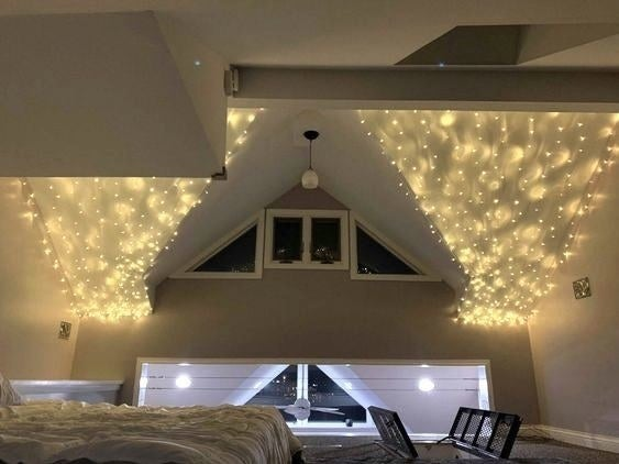 reviewer photo of twinkle lights on the ceiling