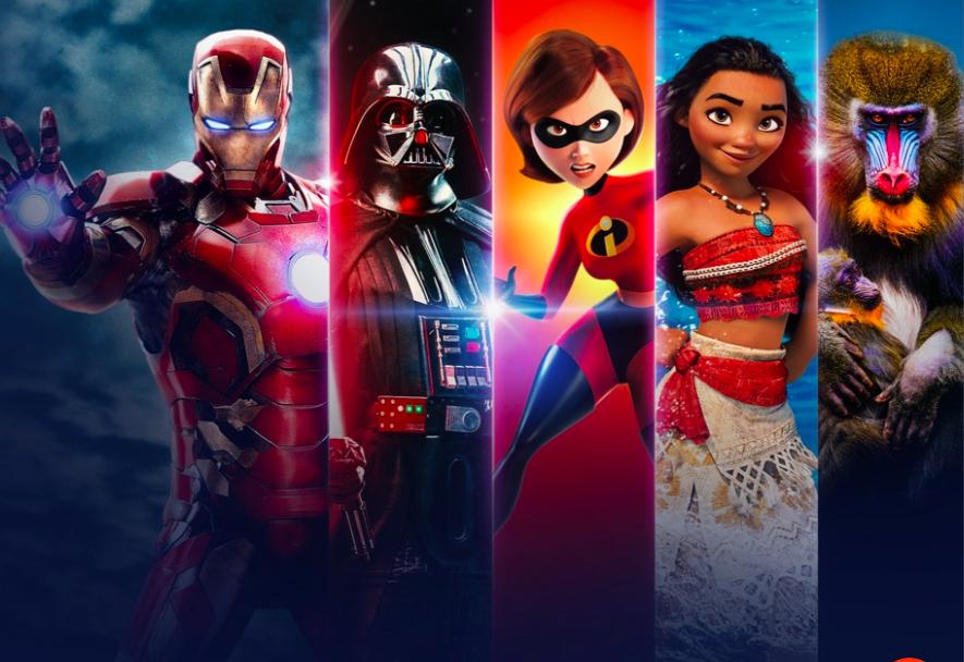a poster showing Iron Man, Darth Vader, Mrs. Incredible, Moana, and Rafiki