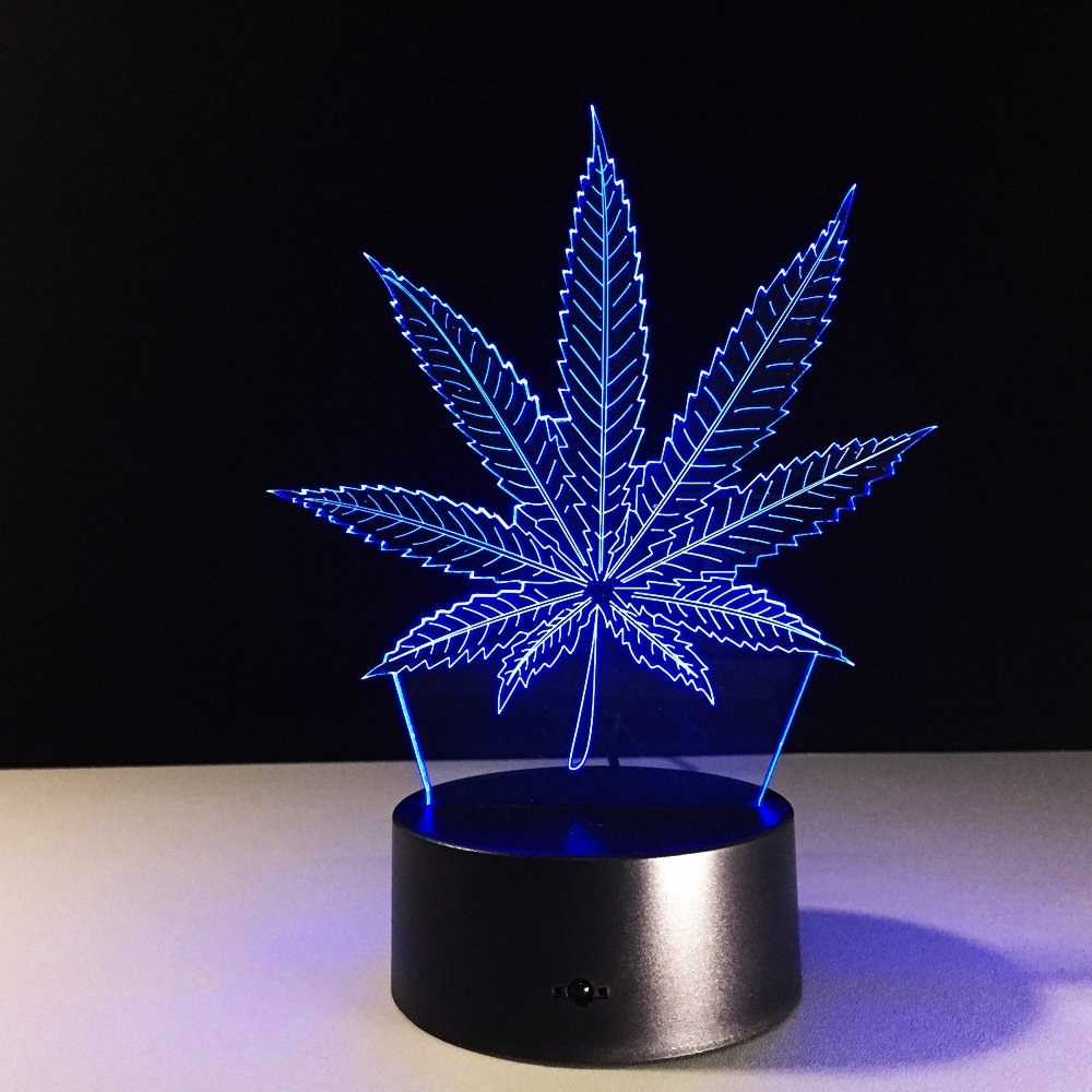 A neon light with a solid base projecting light in the shape of a weed leaf