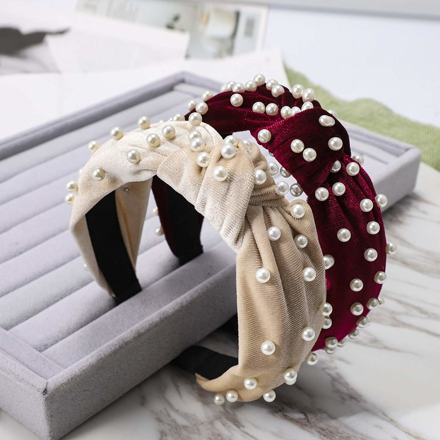velvet headbands with knot on top, faux pearls sewn on it