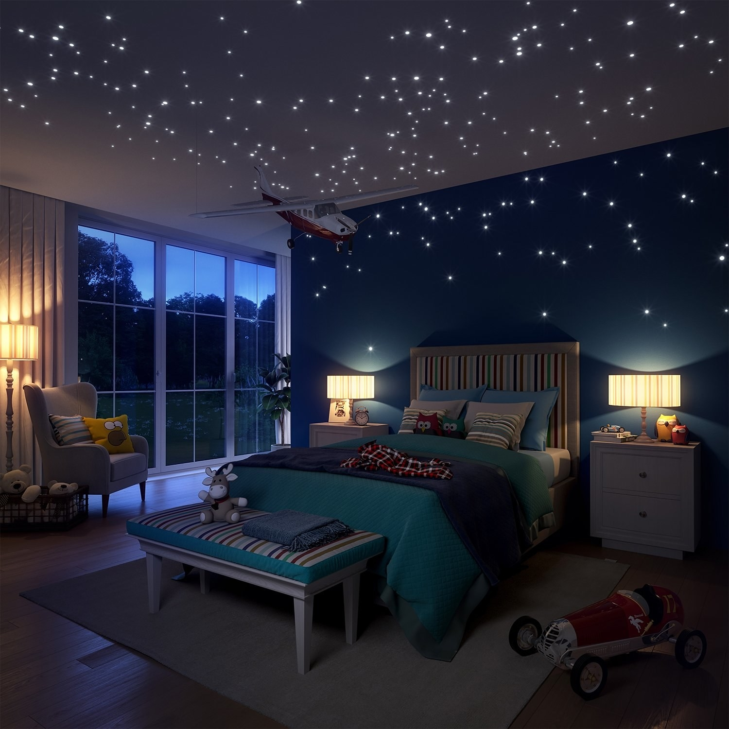 A bedroom with the glow in the dark lights scattered around the ceiling